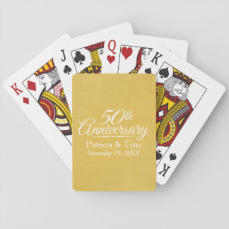 50th Wedding Anniversary Personalized Golden Playing Cards