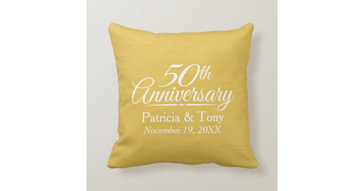 50th Wedding Anniversary Gift Pillows: 50th Wedding Anniversary Personalized Golden Throw Pillow