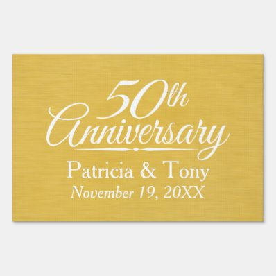 50th Wedding Anniversary Personalized Golden Yard Sign