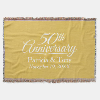 50th Wedding Anniversary Personalized Golden Throw
