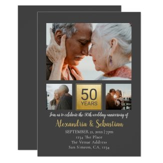 50th Wedding Anniversary Personalized Grey Gold Invitation