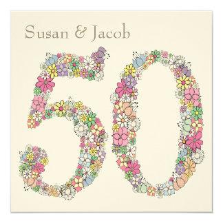 """50th Wedding Anniversary Personalized Invitation 5.25"""" Square Invitation Card"""