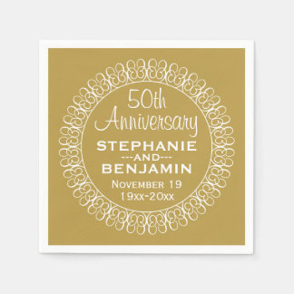 50th Wedding Anniversary Personalized Standard Cocktail Napkin