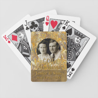 50th Wedding Anniversary Personalized Photo Frame Bicycle Playing Cards