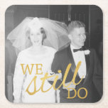 "50th Wedding Anniversary Personalized Photo Golden Square Paper Coaster<br><div class=""desc"">A picture template for an old photo or a new one! Perfect gift for parents or grandparents. A keepsake that you can customize.</div>"