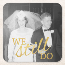 50th Wedding Anniversary Personalized Photo Golden Square Paper Coaster