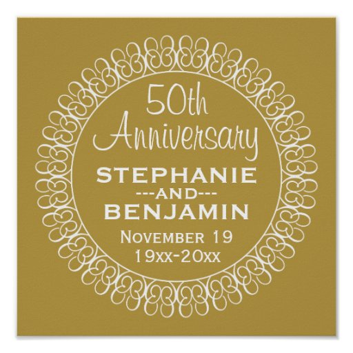 Th wedding anniversary personalized poster zazzle