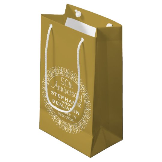 Small Gift For Wedding: 50th Wedding Anniversary Personalized Small Gift Bag