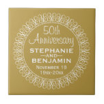 """50th Wedding Anniversary Personalized Tile<br><div class=""""desc"""">Traditional Gold and White Border - Perfect gift for parents or grandparents. A keepsake that you can customize.</div>"""