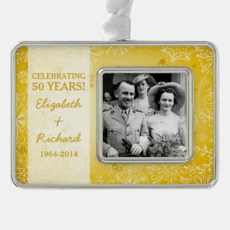 50th Wedding Anniversary Photo Christmas Silver Plated Framed Ornament