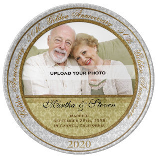 50th Wedding Anniversary Photo Dinner Plate at Zazzle
