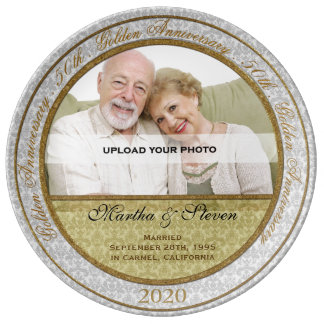 50th Wedding Anniversary Photo Dinner Plate