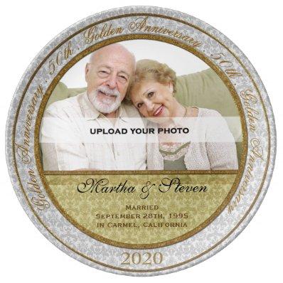 50th Wedding Anniversary Photo Dinner Plate