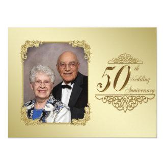 50th Wedding Anniversary Photo Invitation Card