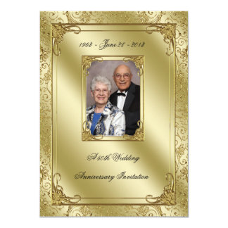 "50th Wedding Anniversary Photo Invitation Card 4.5"" X 6.25"" Invitation Card"