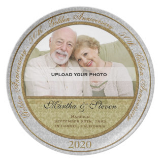 50th Wedding Anniversary Photo Plate at Zazzle