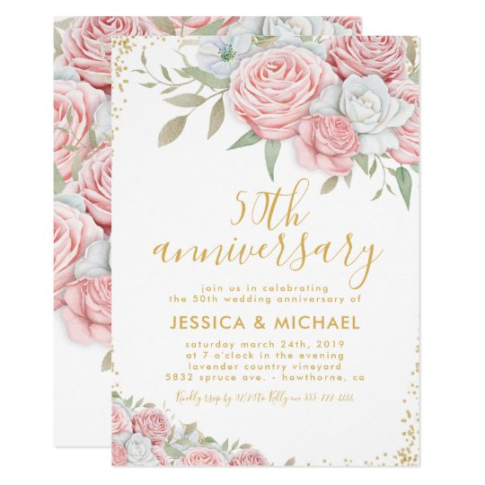 Flower For 50th Wedding Anniversary: 50th Wedding Anniversary Pink Gold Floral Invitation