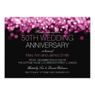 50th Wedding Anniversary Pink Lights Card