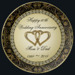 """50th Wedding Anniversary Porcelain Plate<br><div class=""""desc"""">A Digitalbcon Images Design featuring a gold and black color theme with a variety of custom images, shapes, patterns, styles and fonts in this one-of-a-kind &quot;Golden Wedding Anniversary&quot; Porcelain Plate. This elegant and attractive design makes the ideal gift for the Anniversary Couple on the special occasion and comes with customizable...</div>"""