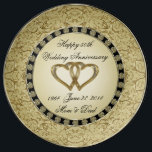 "50th Wedding Anniversary Porcelain Plate<br><div class=""desc"">A Digitalbcon Images Design featuring a gold and black color theme with a variety of custom images, shapes, patterns, styles and fonts in this one-of-a-kind &quot;Golden Wedding Anniversary&quot; Clock. This elegant and attractive design makes the ideal gift for the Anniversary Couple on the special occasion and comes with customizable text...</div>"