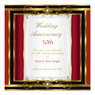50th Wedding Anniversary Red Gold Black White Card
