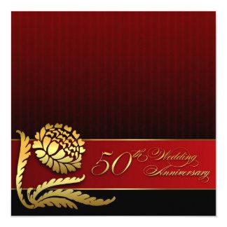 50th wedding anniversary red golden invitations