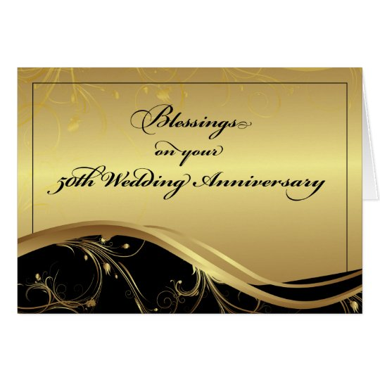 50th Wedding Anniversary Religious, Black and Gold Card ...