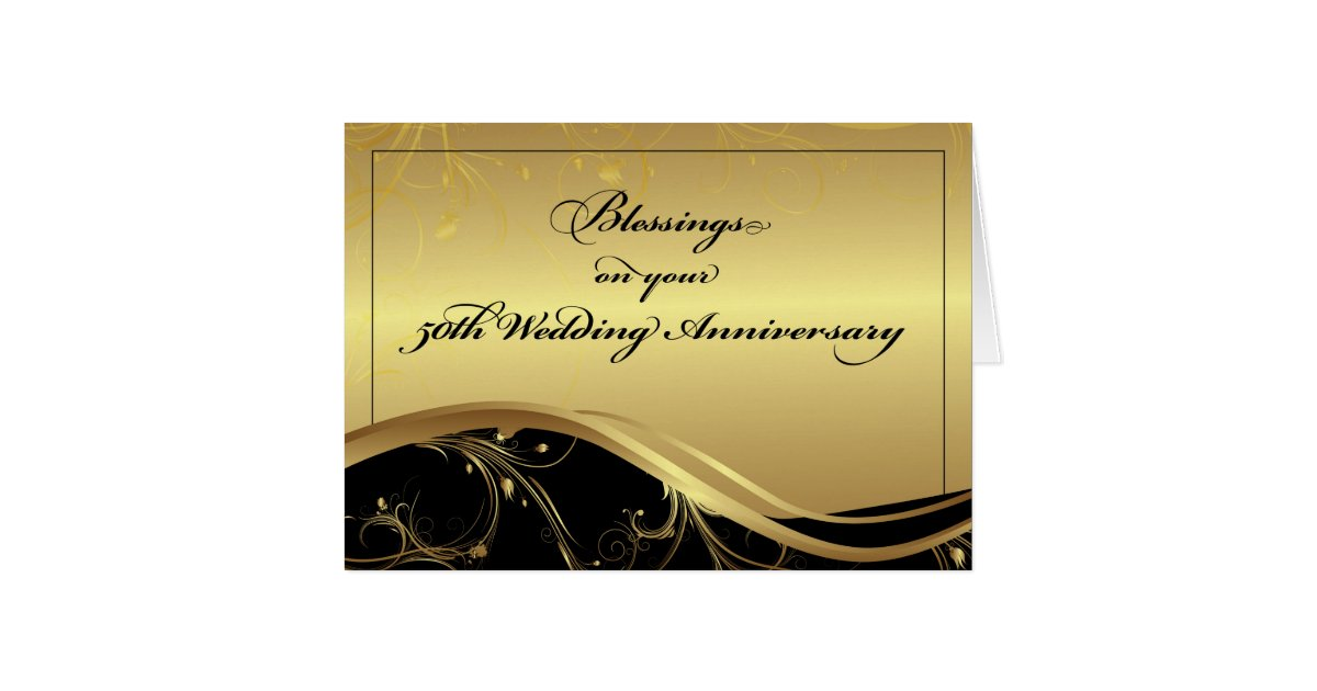 Th wedding anniversary religious black and gold card