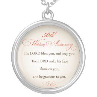 50th Wedding Anniversary, Religious Lord Bless Silver Plated Necklace