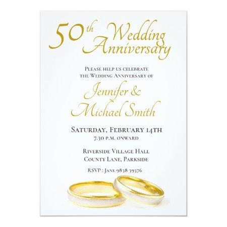 50th Wedding Anniversary Rings Invitation