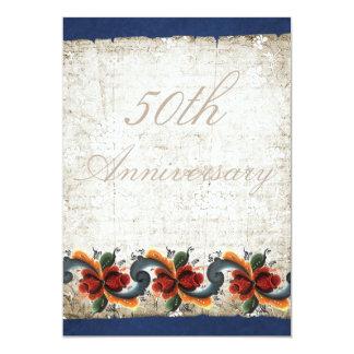 50th Wedding Anniversary  Rosemaling 5x7 Paper Invitation Card