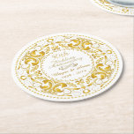"""50th Wedding Anniversary - Round Paper Coaster<br><div class=""""desc"""">Add that touch of fun and elegance for you 50th Wedding Anniversary with these beautiful customized white Round Paper Coasters in gold!</div>"""