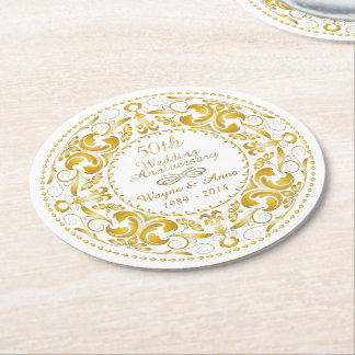 50th Wedding Anniversary - Round Paper Coaster