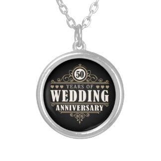 50th Wedding Anniversary Round Pendant Necklace