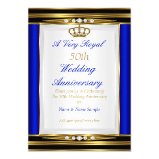 50th Wedding Anniversary Royal Blue Gold Crown 2 Card