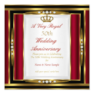50th Wedding Anniversary Royal Red Gold Crown Card