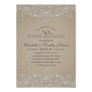 50th Wedding Anniversary Rustic Burlap and Lace Card