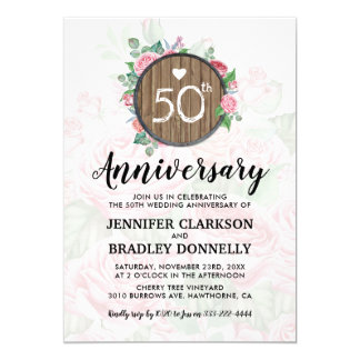 50th Wedding Anniversary Rustic Country Floral Card