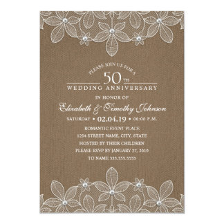 50th Wedding Anniversary Rustic Dark Burlap Lace Invitation