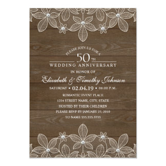 50th Wedding Anniversary Rustic Wood Country Lace Invitation