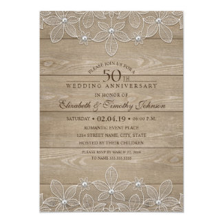 50th Wedding Anniversary Rustic Wood Vintage Lace Invitation