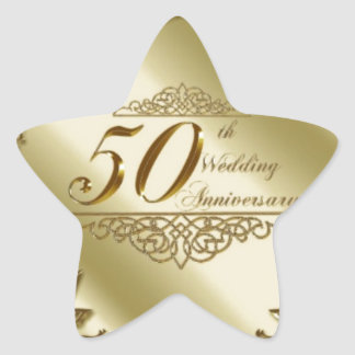 50TH WEDDING ANNIVERSARY SOUVENIRS STAR STICKER