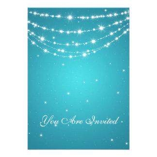 50th Wedding Anniversary Sparkling Chain Blue Personalized Invitation