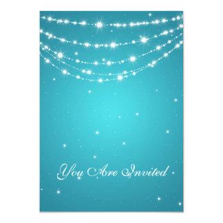 50th Wedding Anniversary Sparkling Chain Blue 5x7 Paper Invitation Card