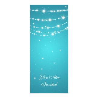 50th Wedding Anniversary Sparkling Chain Blue 4x9.25 Paper Invitation Card