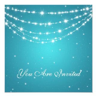 50th Wedding Anniversary Sparkling Chain Blue 5.25x5.25 Square Paper Invitation Card