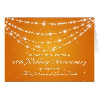 50th Wedding Anniversary Sparkling Chain Orange Card