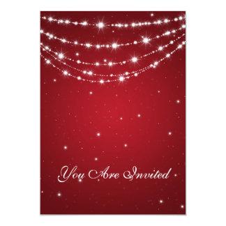 50th Wedding Anniversary Sparkling Chain Red 5x7 Paper Invitation Card