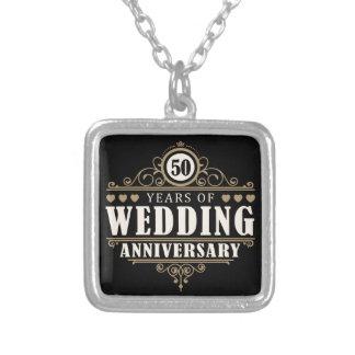 50th Wedding Anniversary Square Pendant Necklace