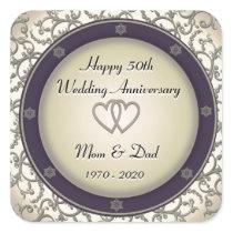 50th Wedding Anniversary Square Sticker